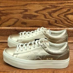 Converse One Star Platform Ox Gold Egret Shoes